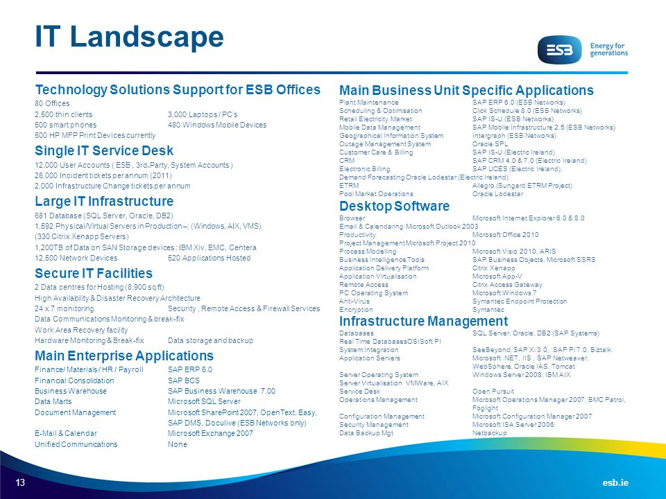 IT Landscape Technology Solutions Support for ESB Offices
