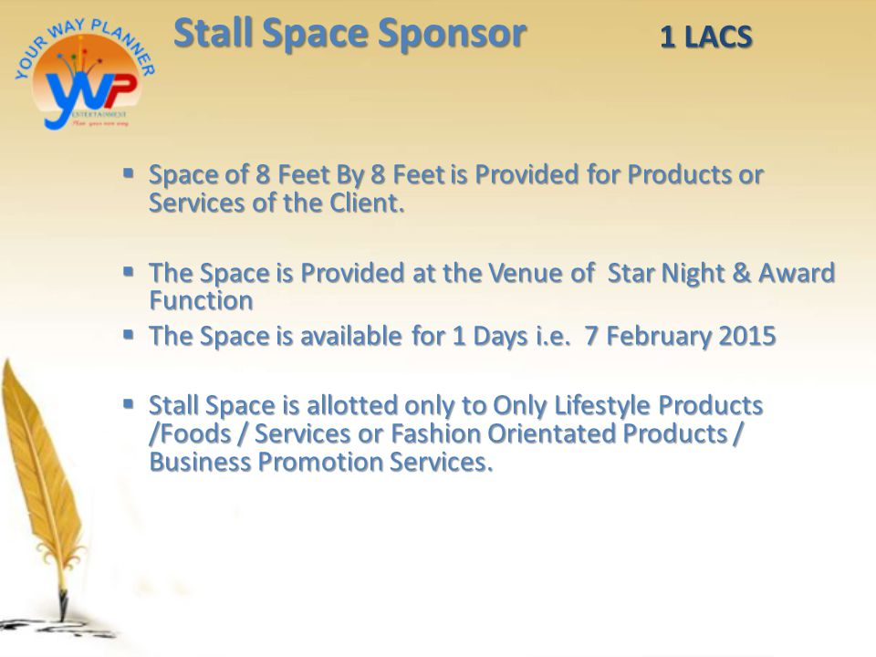 Stall Space Sponsor 1 LACS