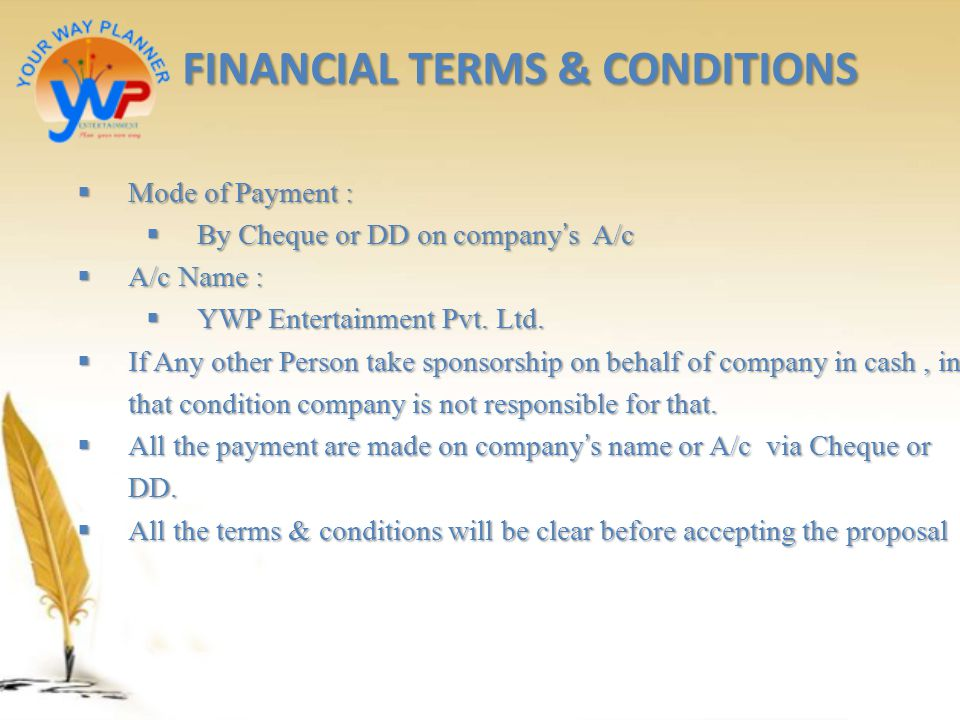 FINANCIAL TERMS & CONDITIONS