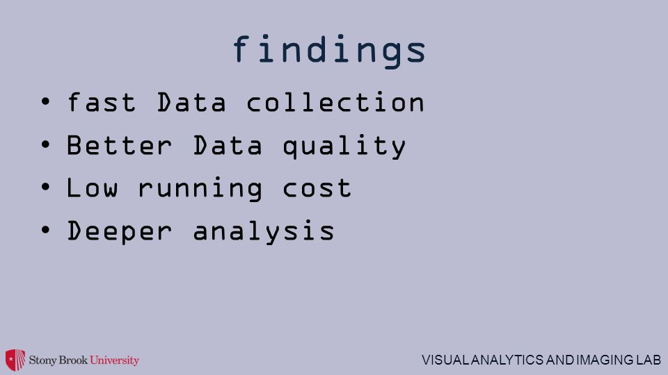 findings fast Data collection Better Data quality Low running cost