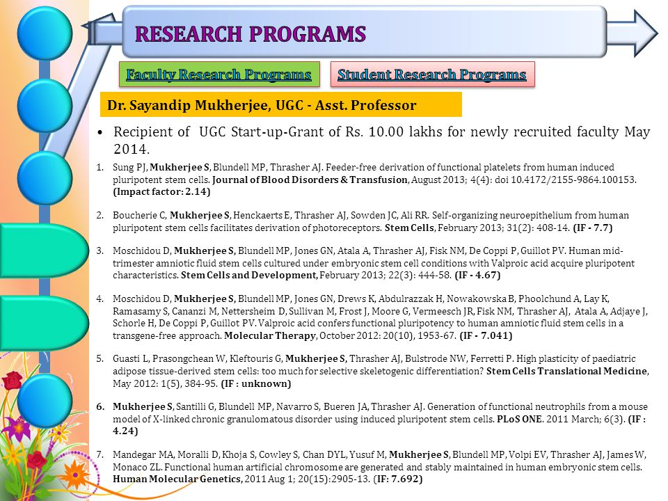 Faculty Research Programs Student Research Programs