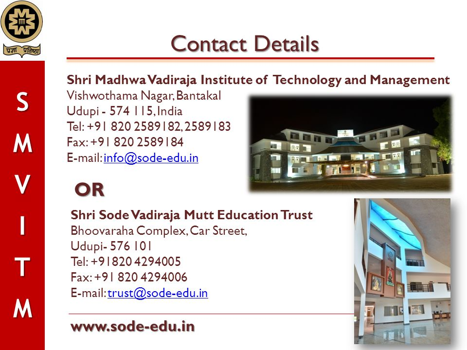 Contact Details OR www.sode-edu.in