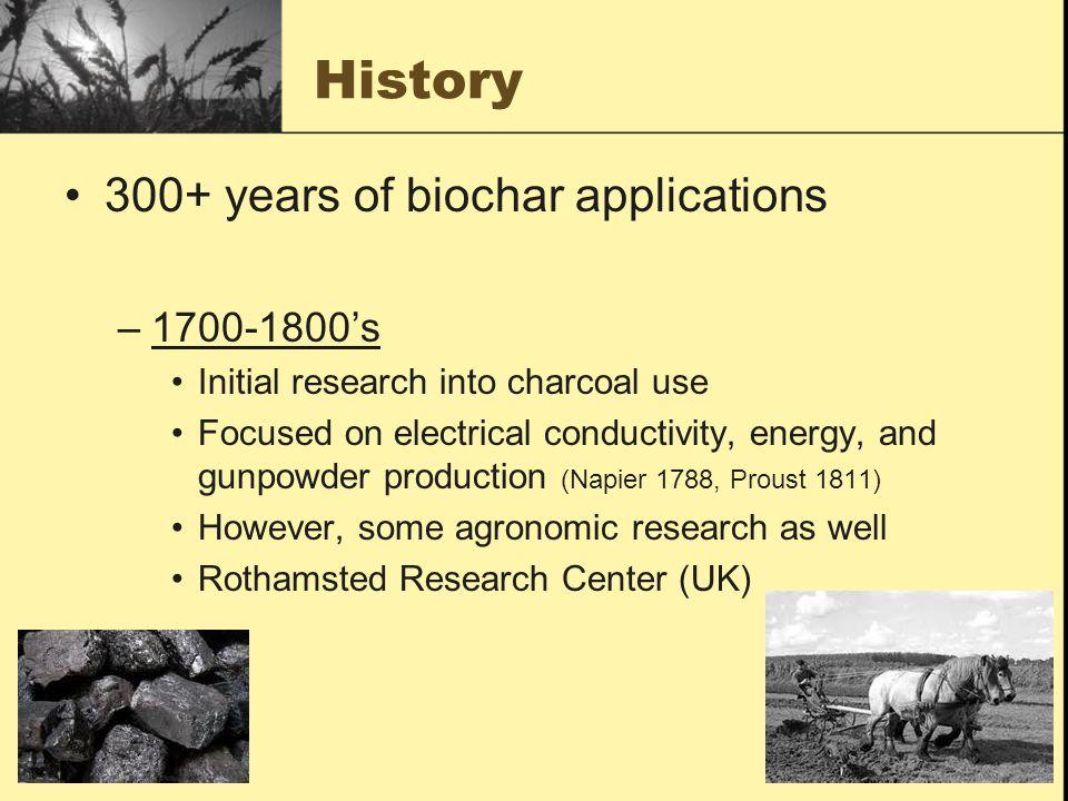 History 300+ years of biochar applications 1700-1800's