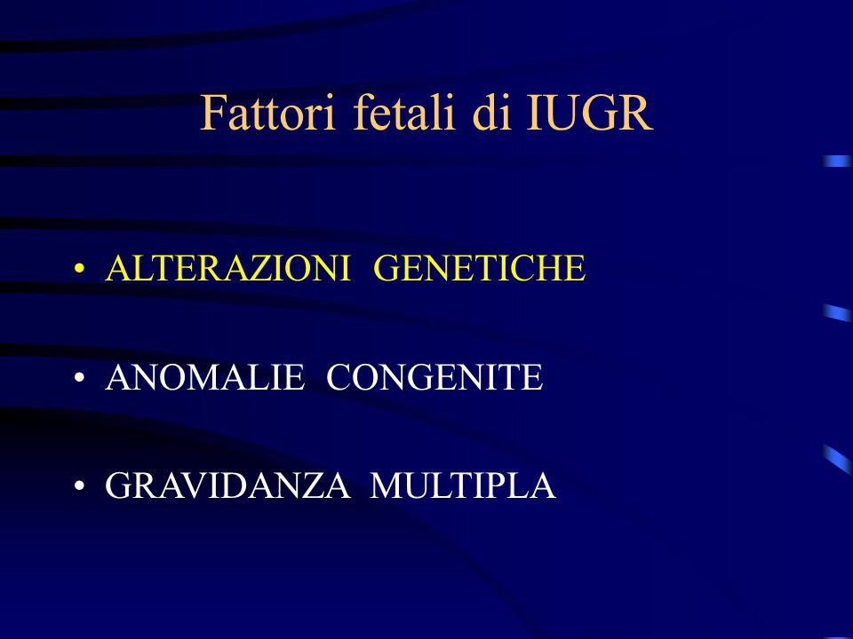 Fattori fetali di IUGR ALTERAZIONI GENETICHE ANOMALIE CONGENITE