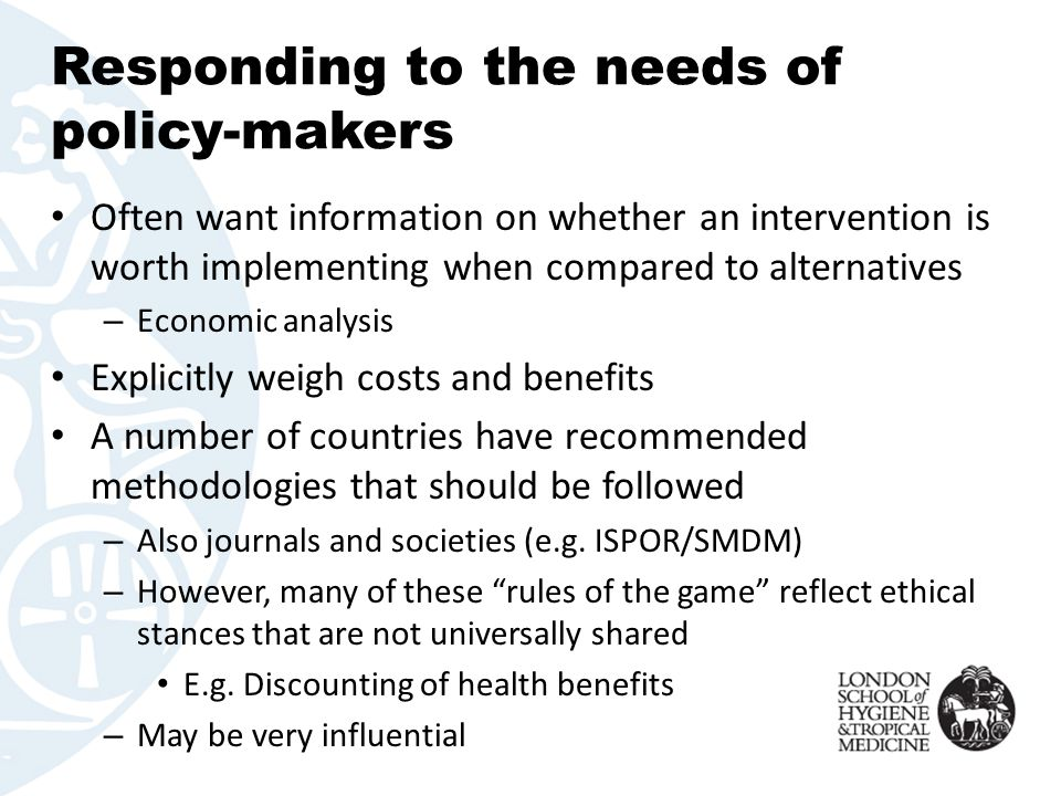 Responding to the needs of policy-makers