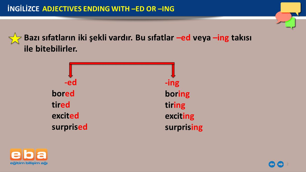 İNGİLİZCE ADJECTIVES ENDING WITH –ED OR –ING