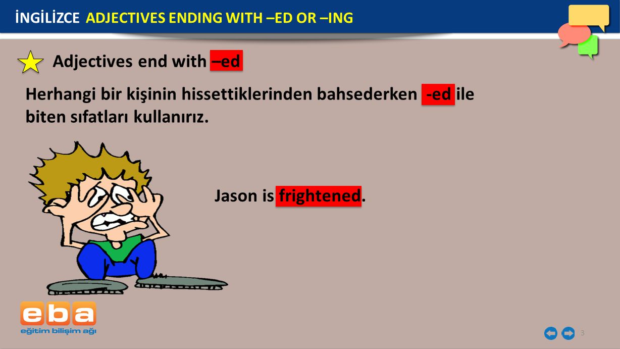 Adjectives end with –ed