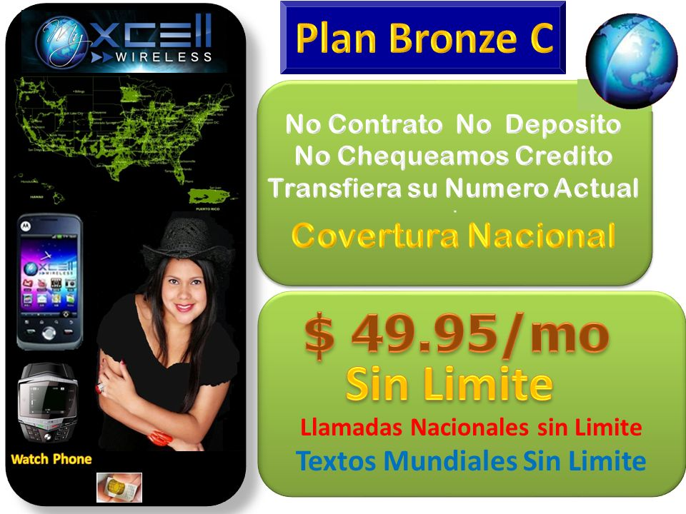 $ 49.95/mo Sin Limite Plan Bronze C Covertura Nacional