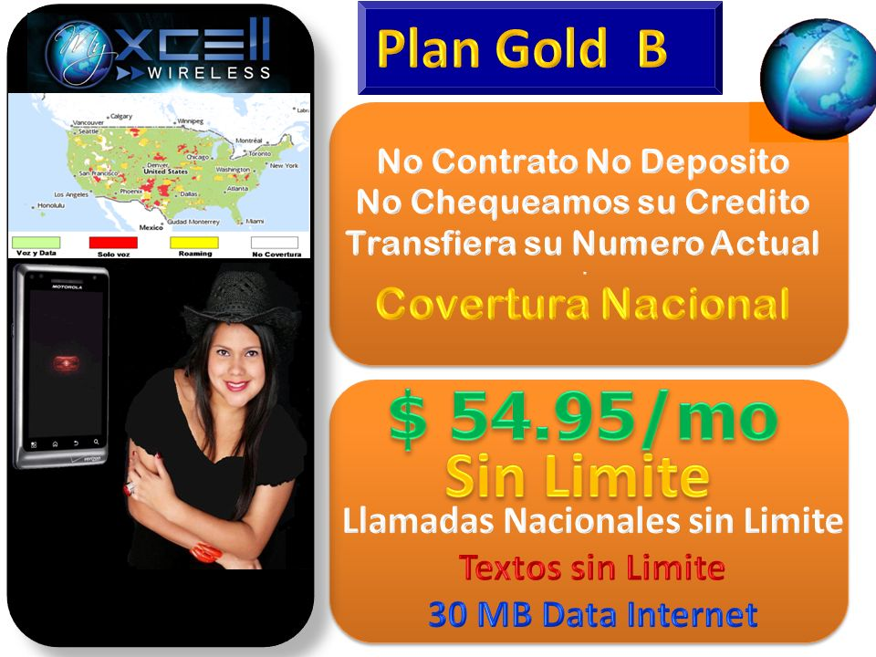 $ 54.95/mo Sin Limite Plan Gold B Covertura Nacional
