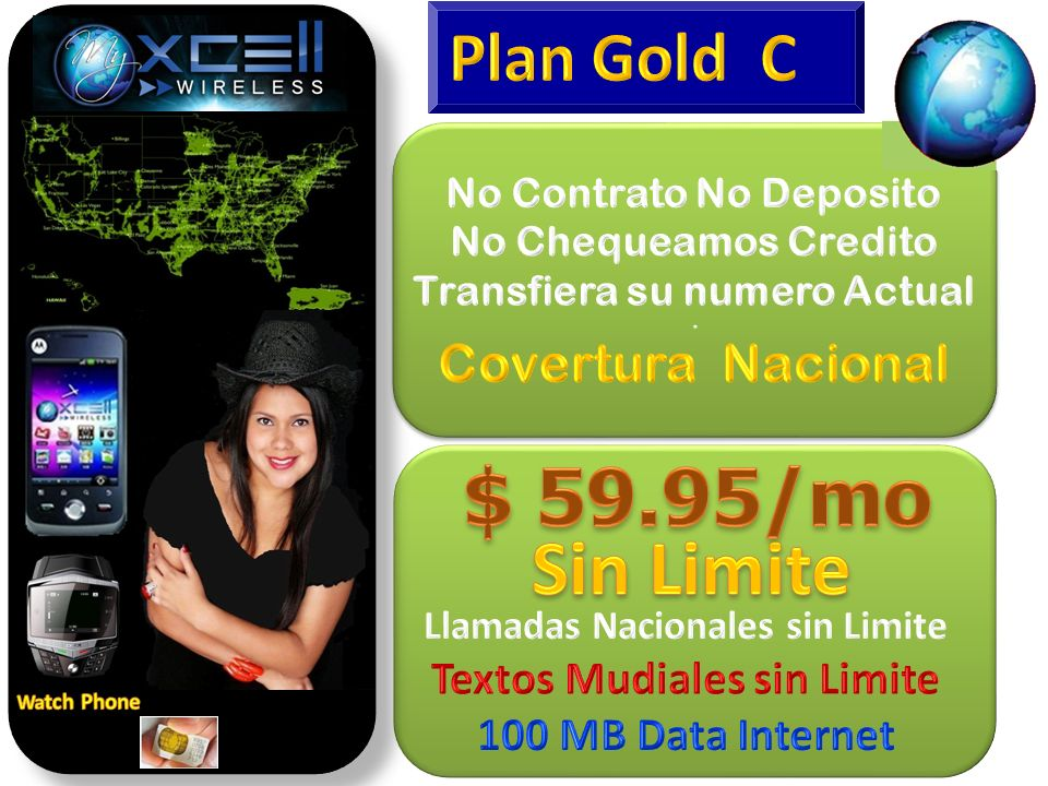 $ 59.95/mo Sin Limite Plan Gold C Covertura Nacional