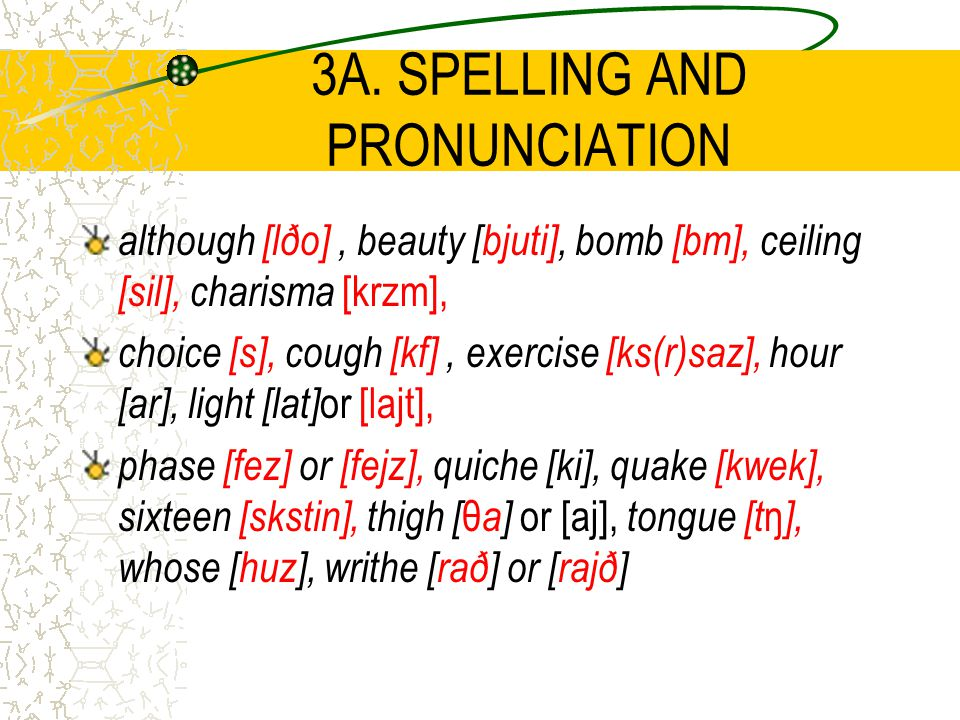 3A. SPELLING AND PRONUNCIATION