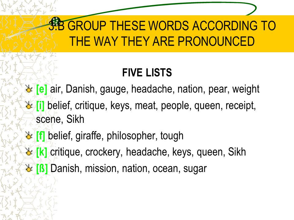 3.B GROUP THESE WORDS ACCORDING TO THE WAY THEY ARE PRONOUNCED