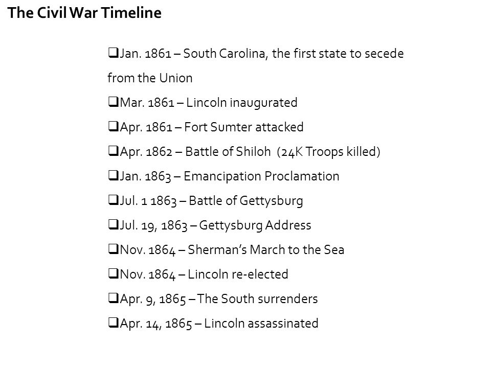 The Civil War Timeline Jan. 1861 – South Carolina, the first state to secede from the Union. Mar. 1861 – Lincoln inaugurated.