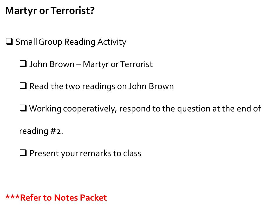 Martyr or Terrorist Small Group Reading Activity