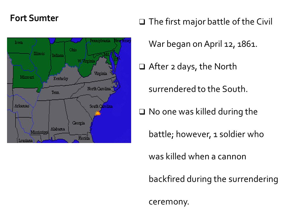 The first major battle of the Civil War began on April 12, 1861.