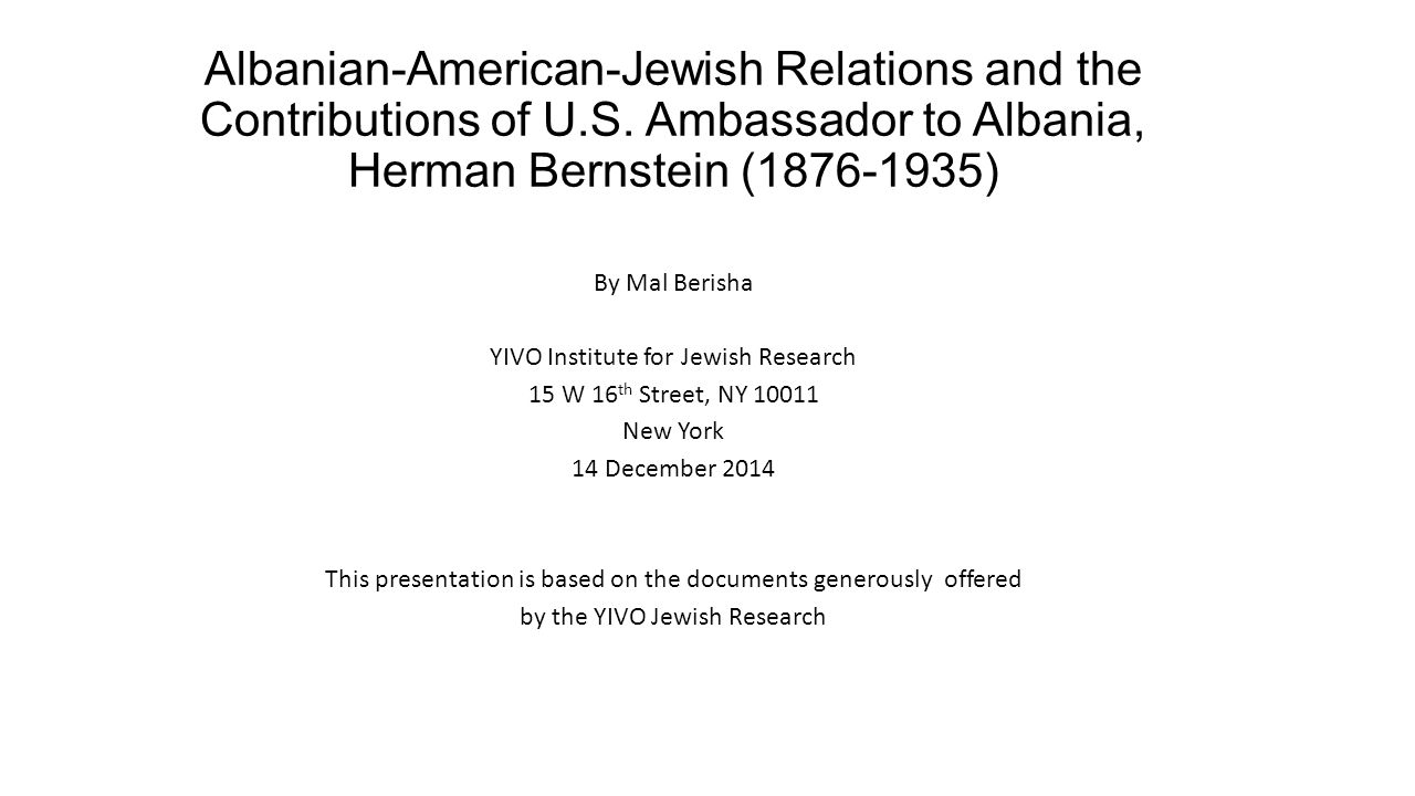 Albanian-American-Jewish Relations and the Contributions of U. S