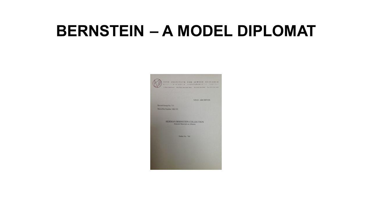 BERNSTEIN – A MODEL DIPLOMAT