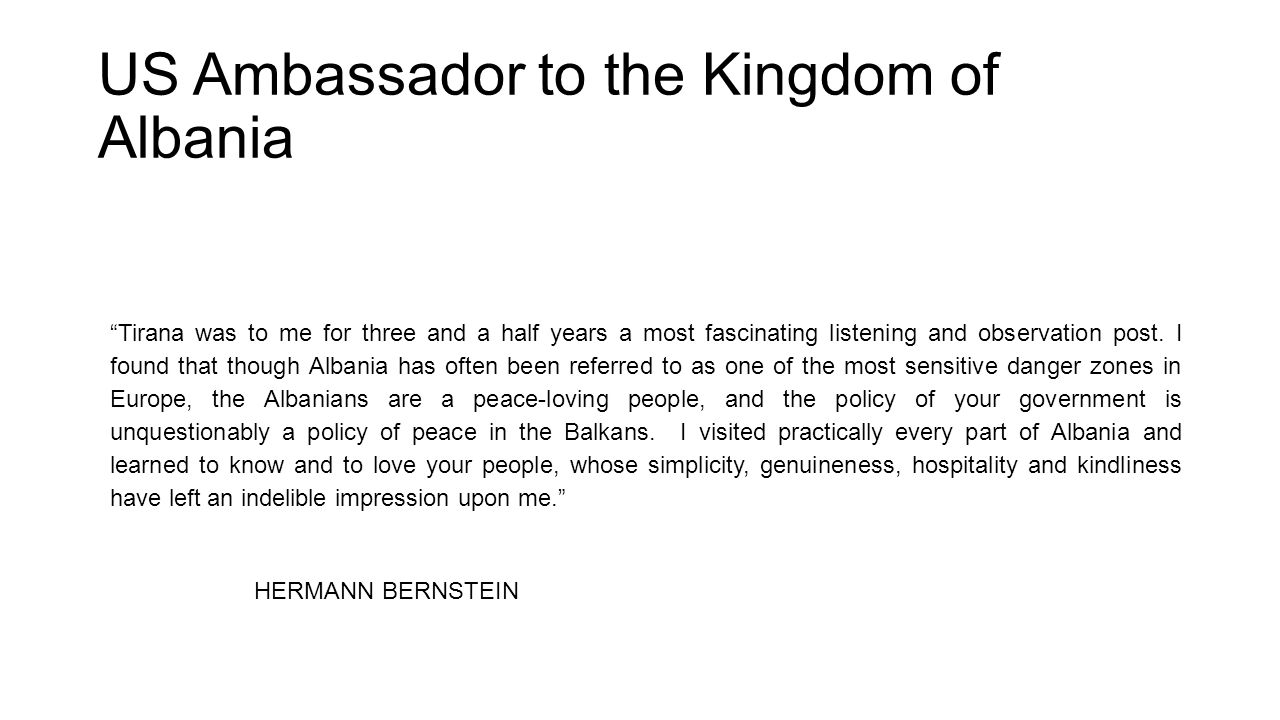 US Ambassador to the Kingdom of Albania