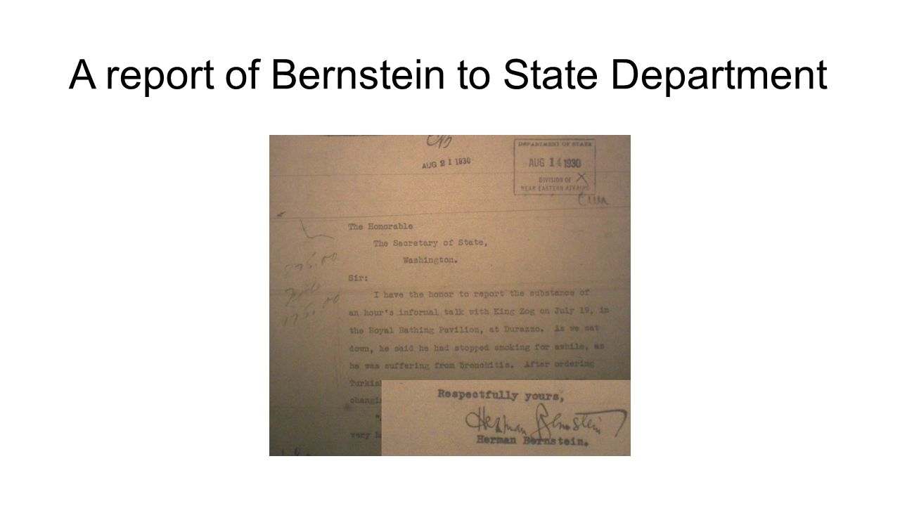 A report of Bernstein to State Department
