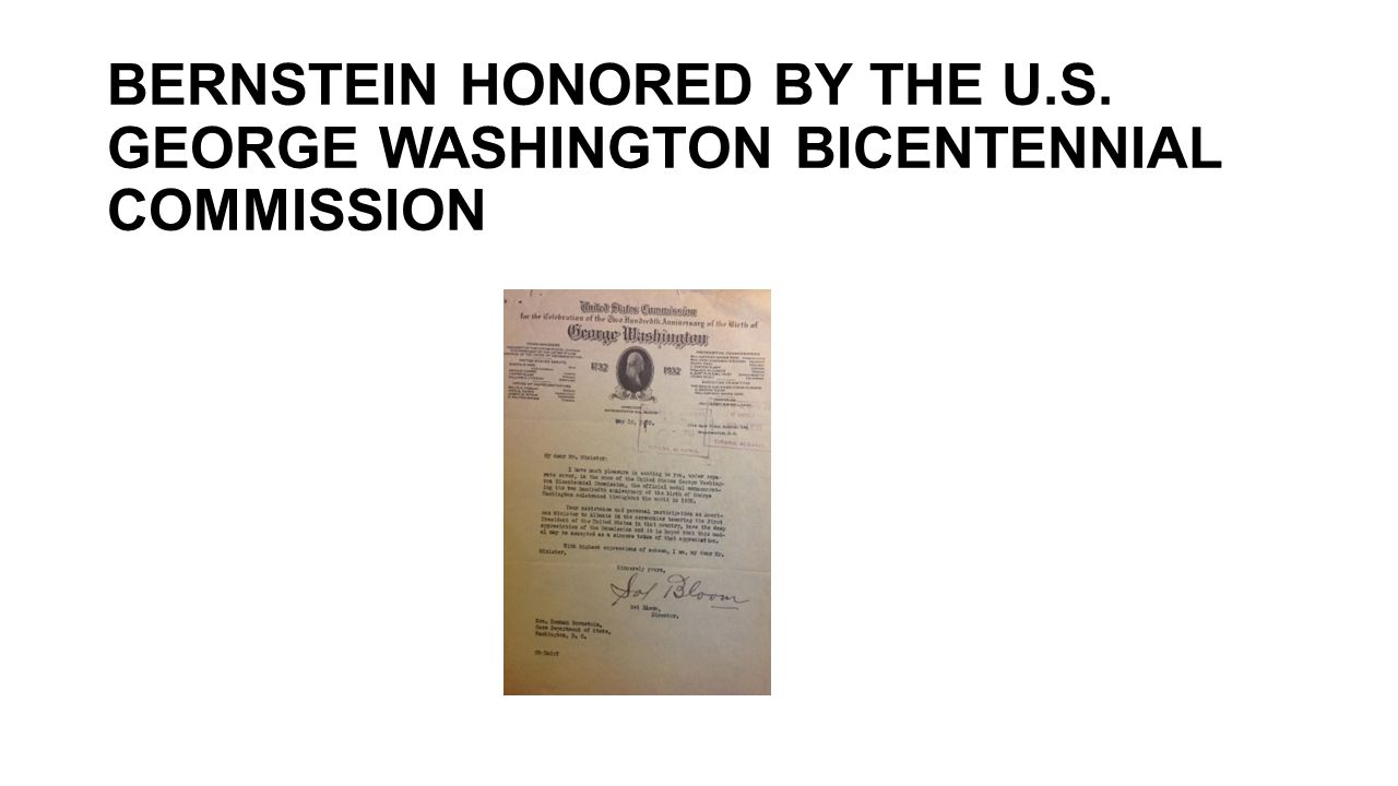 BERNSTEIN HONORED BY THE U. S