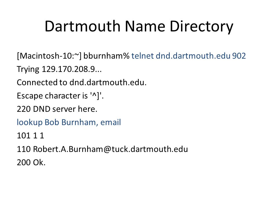 Dartmouth Name Directory