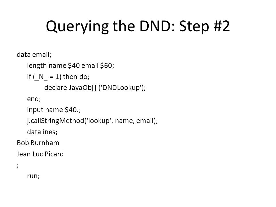 Querying the DND: Step #2