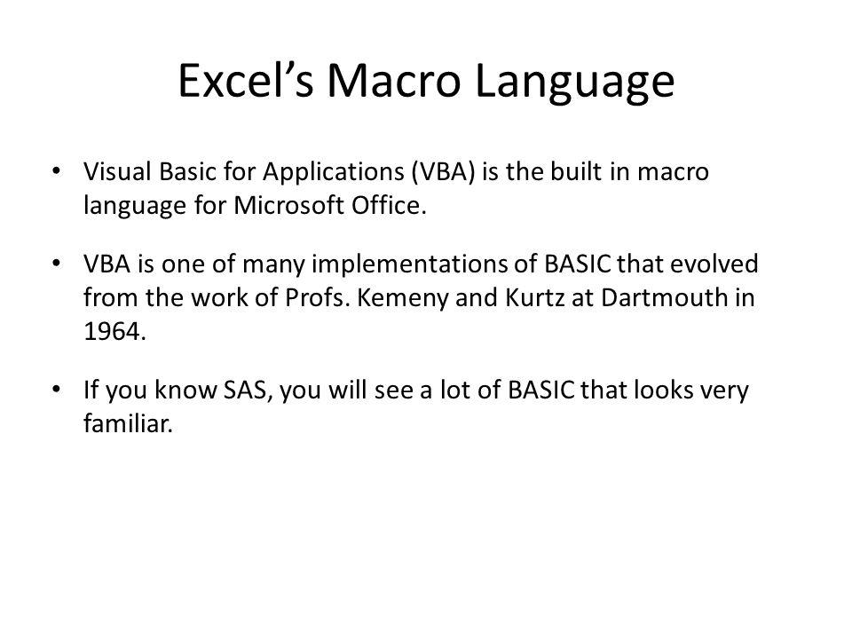 Excel's Macro Language
