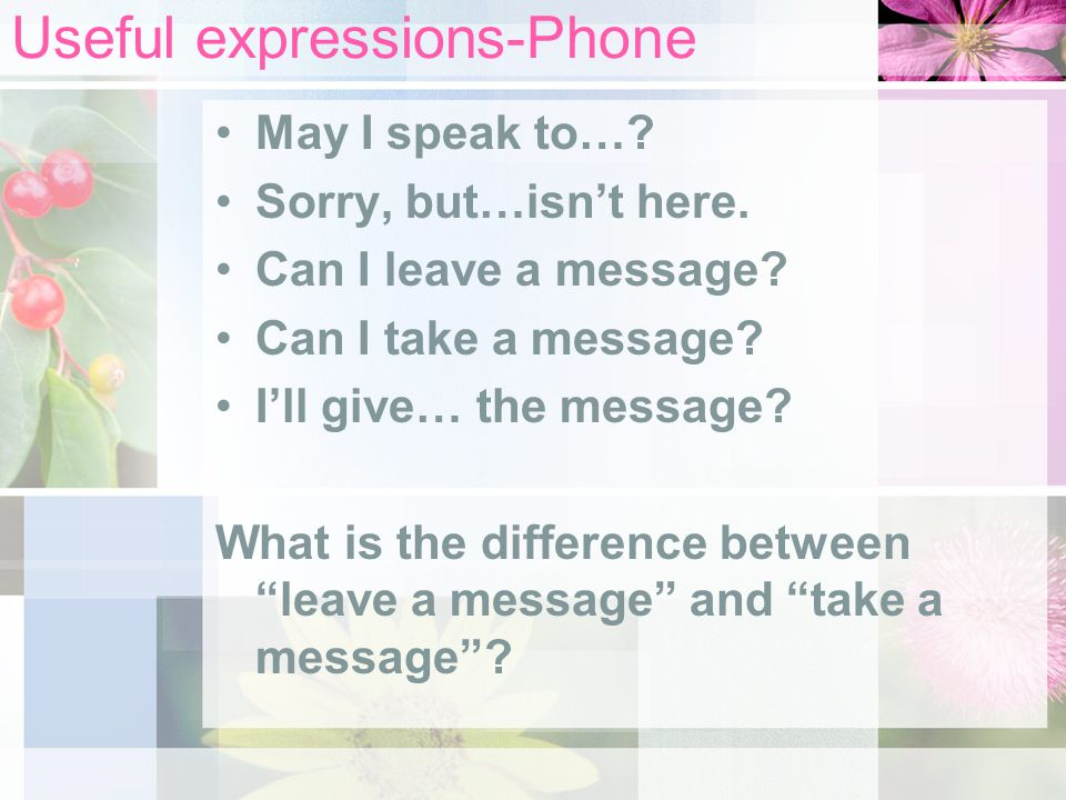Useful expressions-Phone