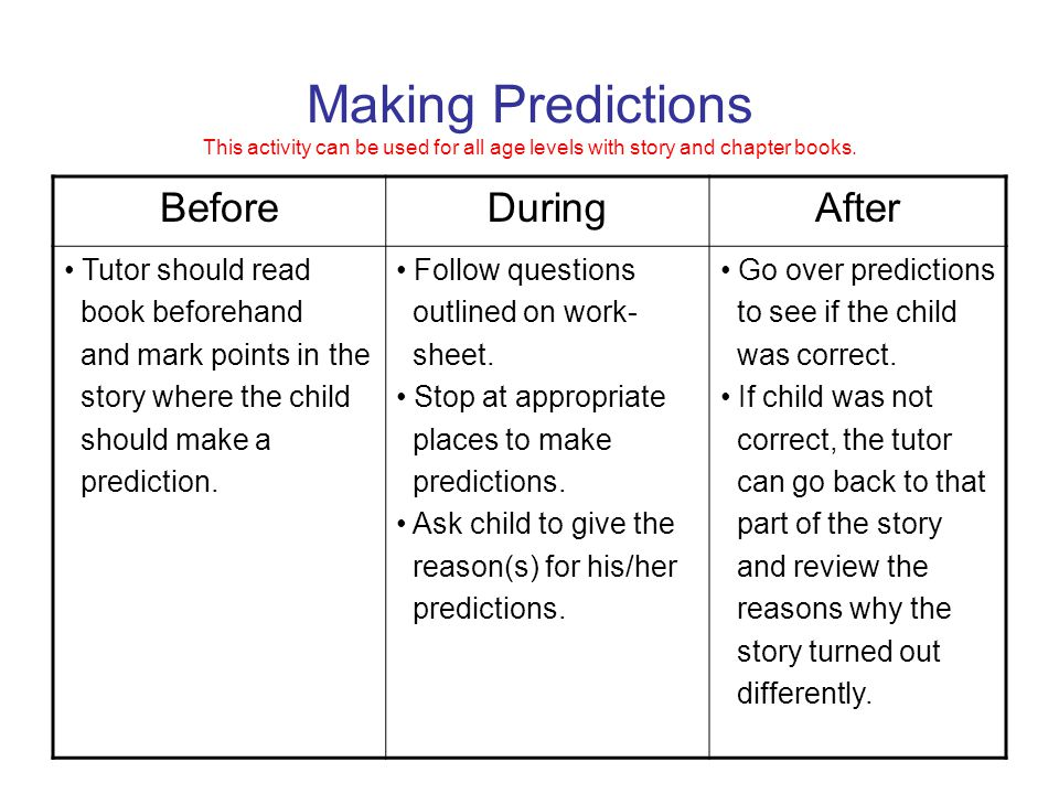 Making Predictions This activity can be used for all age levels with story and chapter books.