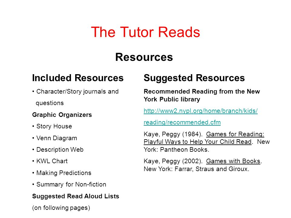 The Tutor Reads Resources Included Resources Suggested Resources