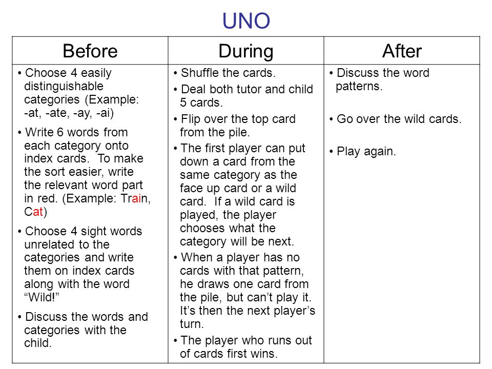 UNO Before During After