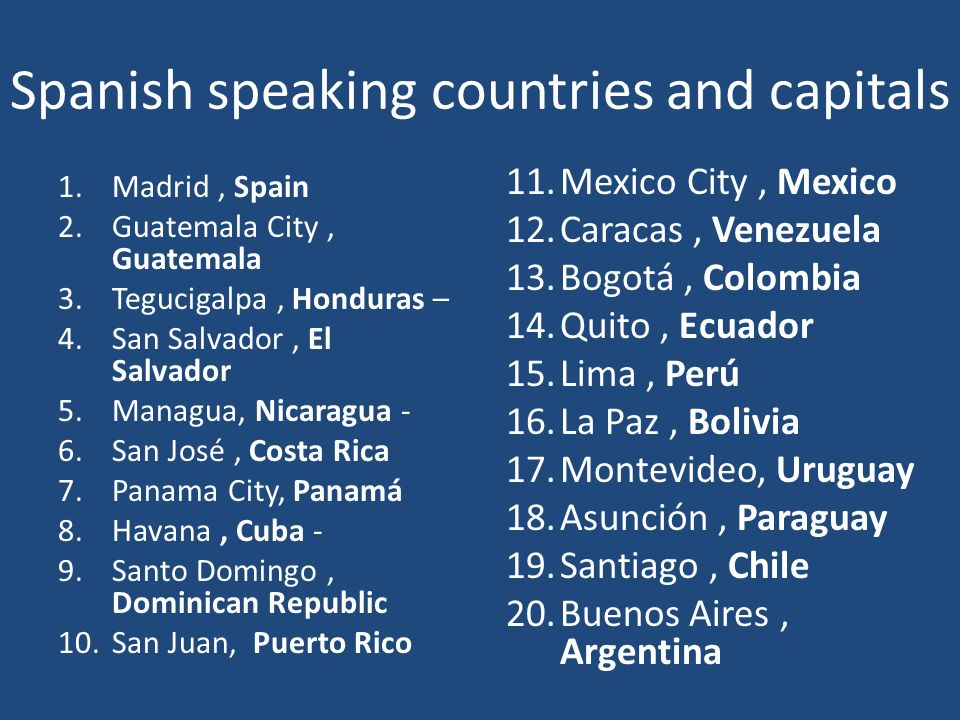Spanish speaking countries and capitals