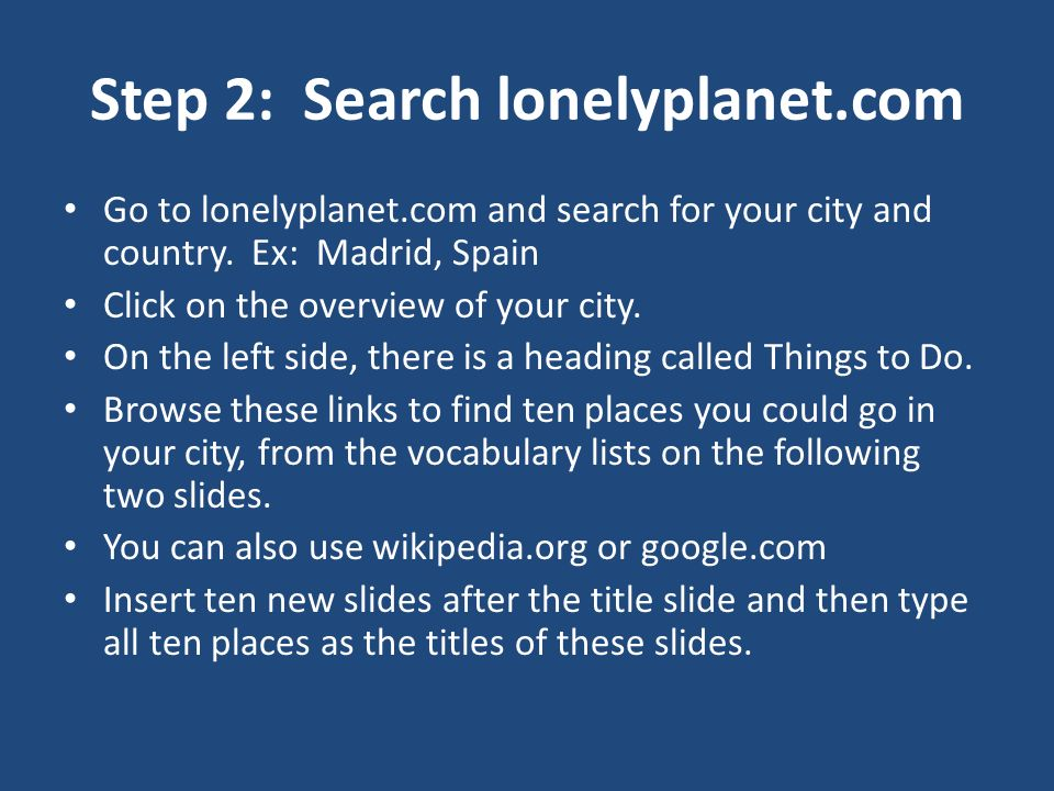 Step 2: Search lonelyplanet.com