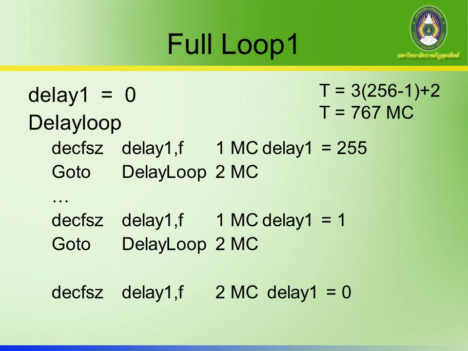 Full Loop1 delay1 = 0 Delayloop T = 3(256-1)+2 T = 767 MC