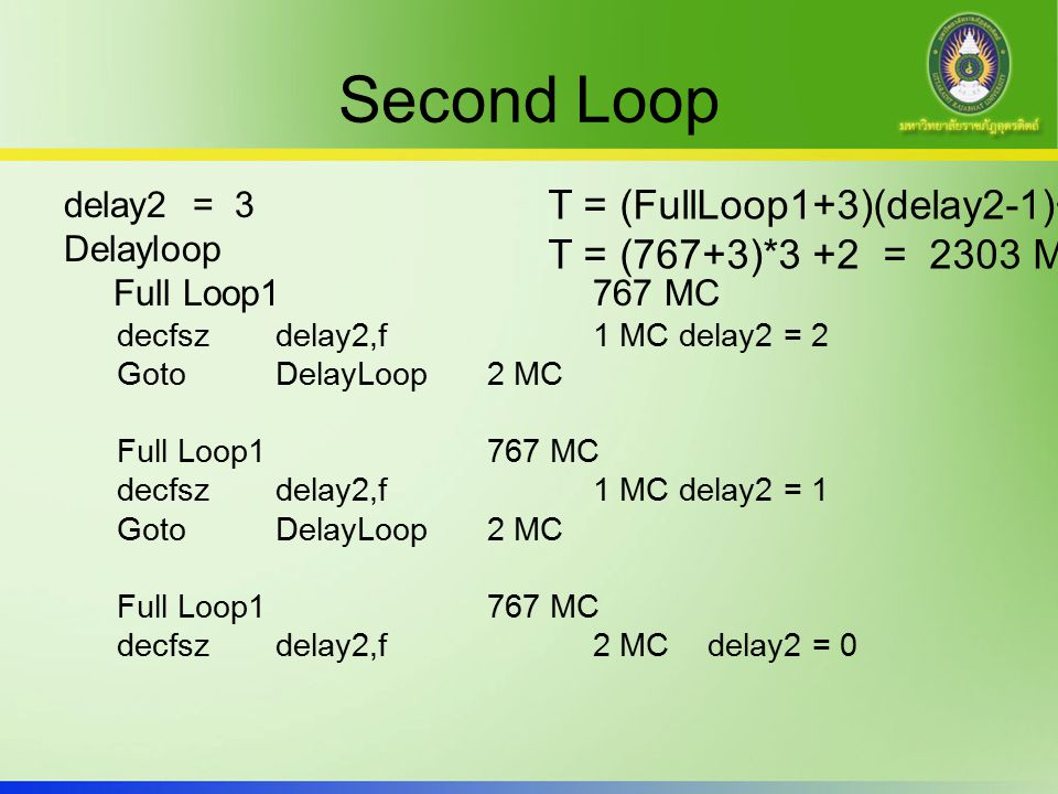 Second Loop T = (FullLoop1+3)(delay2-1)+2 T = (767+3)*3 +2 = 2303 MC