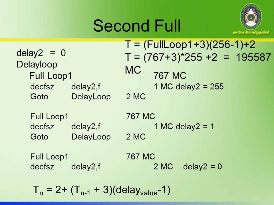 Second Full T = (FullLoop1+3)(256-1)+2 T = (767+3)*255 +2 = 195587 MC