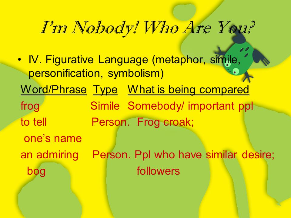 I'm Nobody! Who Are You IV. Figurative Language (metaphor, simile, personification, symbolism) Word/Phrase Type What is being compared.