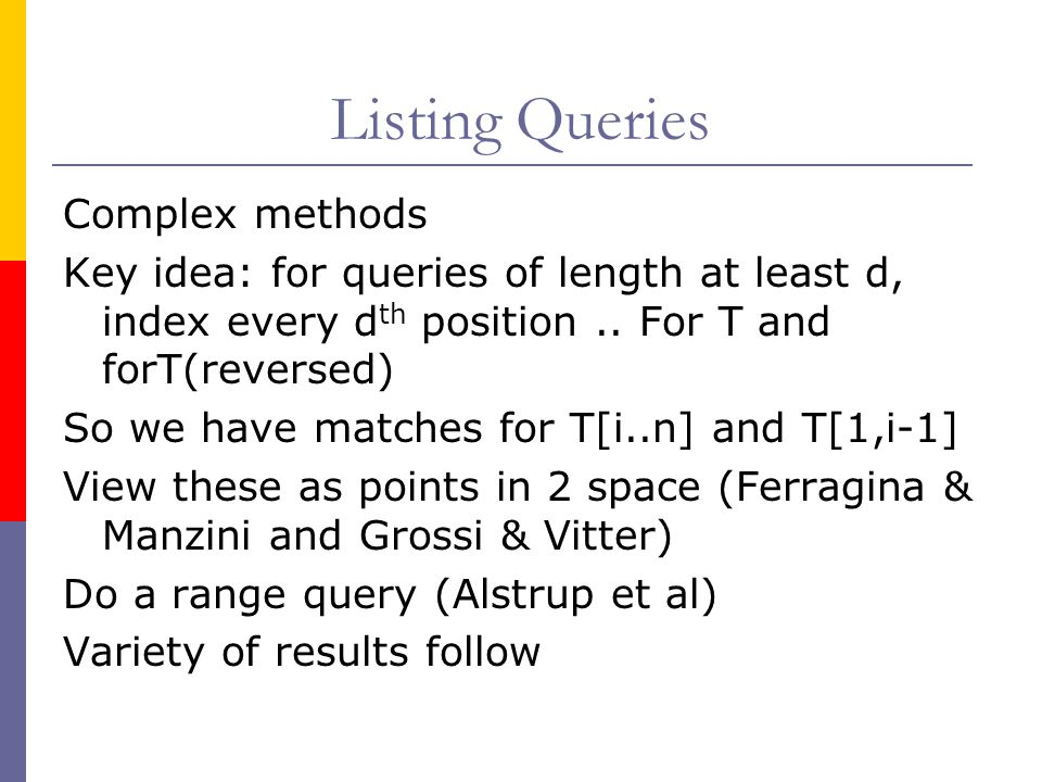 Listing Queries Complex methods