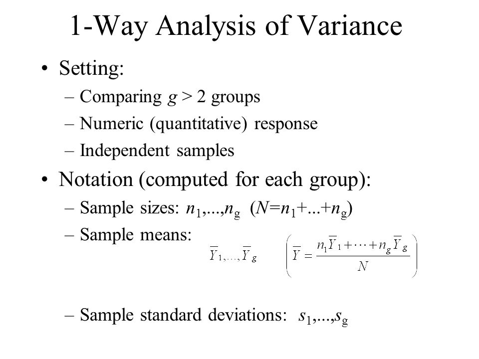 1-Way Analysis of Variance