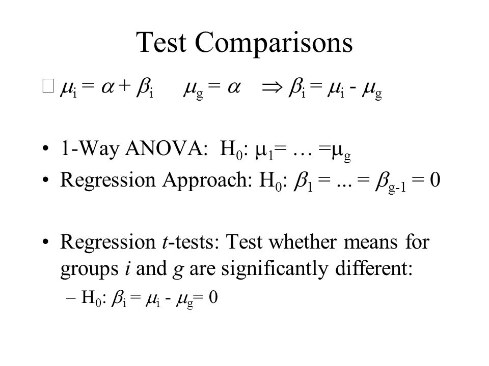Test Comparisons mi = a + bi mg = a  bi = mi - mg