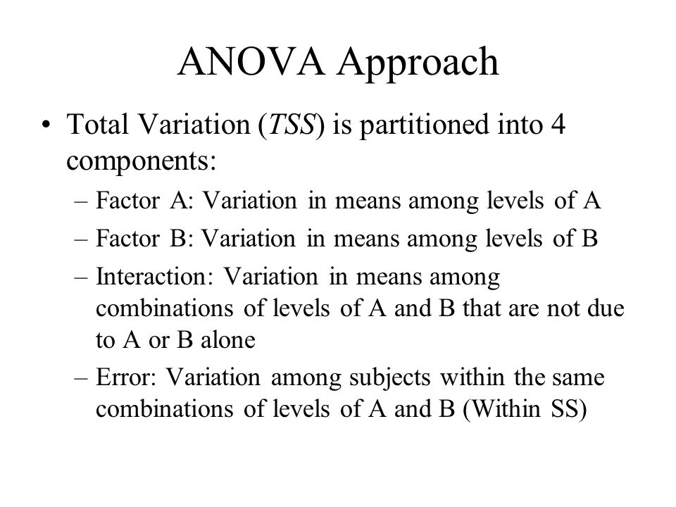 ANOVA Approach Total Variation (TSS) is partitioned into 4 components: