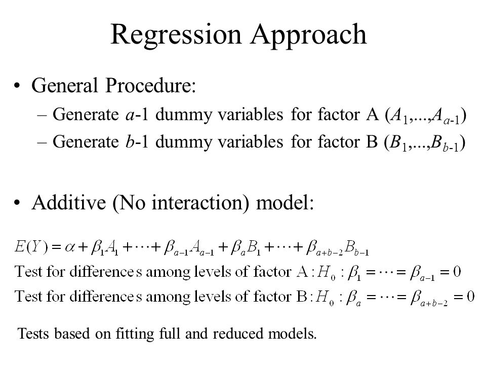Regression Approach General Procedure: