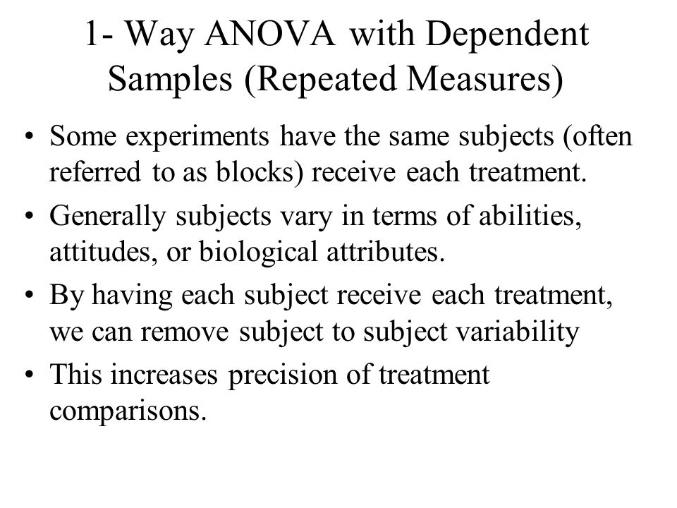 1- Way ANOVA with Dependent Samples (Repeated Measures)