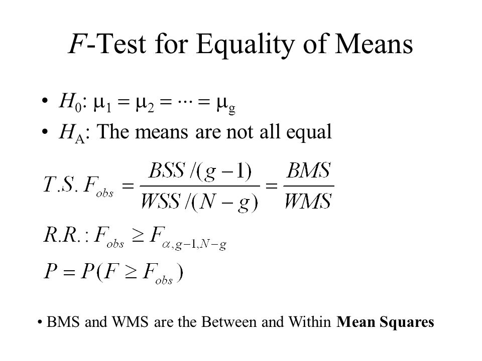 F-Test for Equality of Means