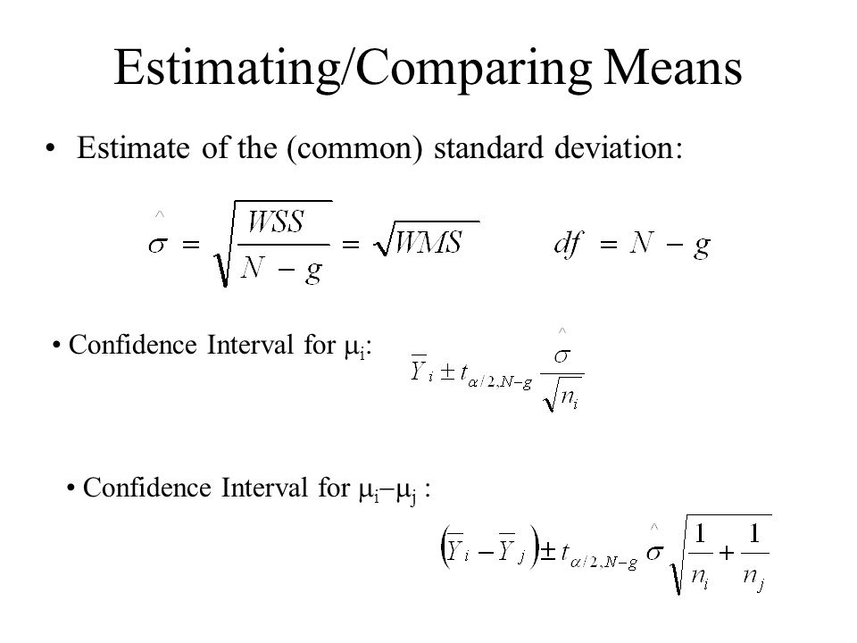 Estimating/Comparing Means