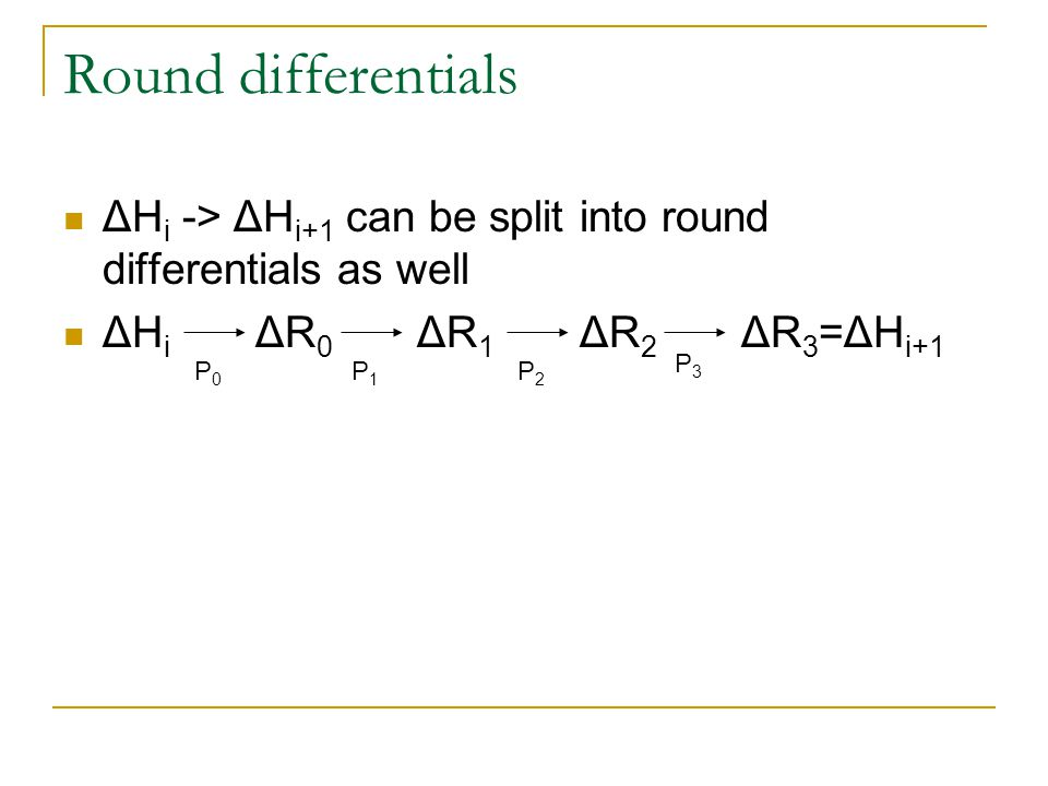 Round differentials ΔHi -> ΔHi+1 can be split into round differentials as well. ΔHi ΔR0 ΔR1 ΔR2 ΔR3=ΔHi+1.