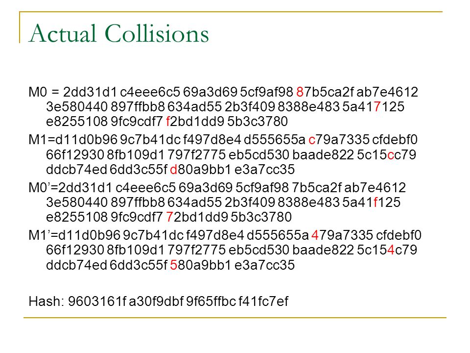 Actual Collisions
