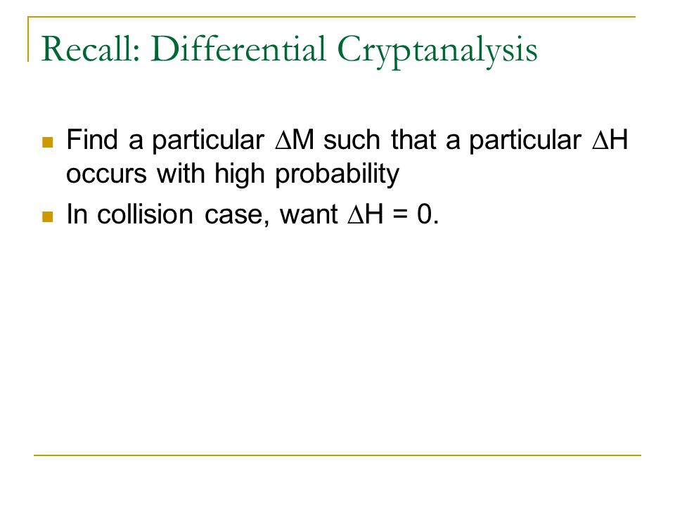 Recall: Differential Cryptanalysis