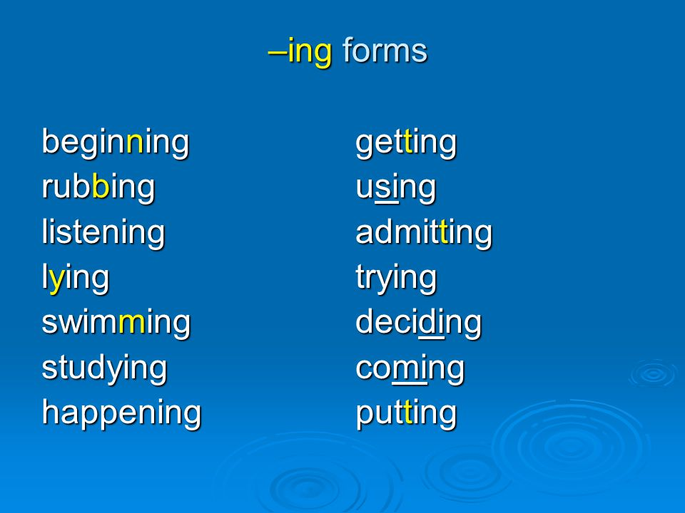 –ing forms beginning. rubbing. listening. lying. swimming. studying. happening. getting. using.