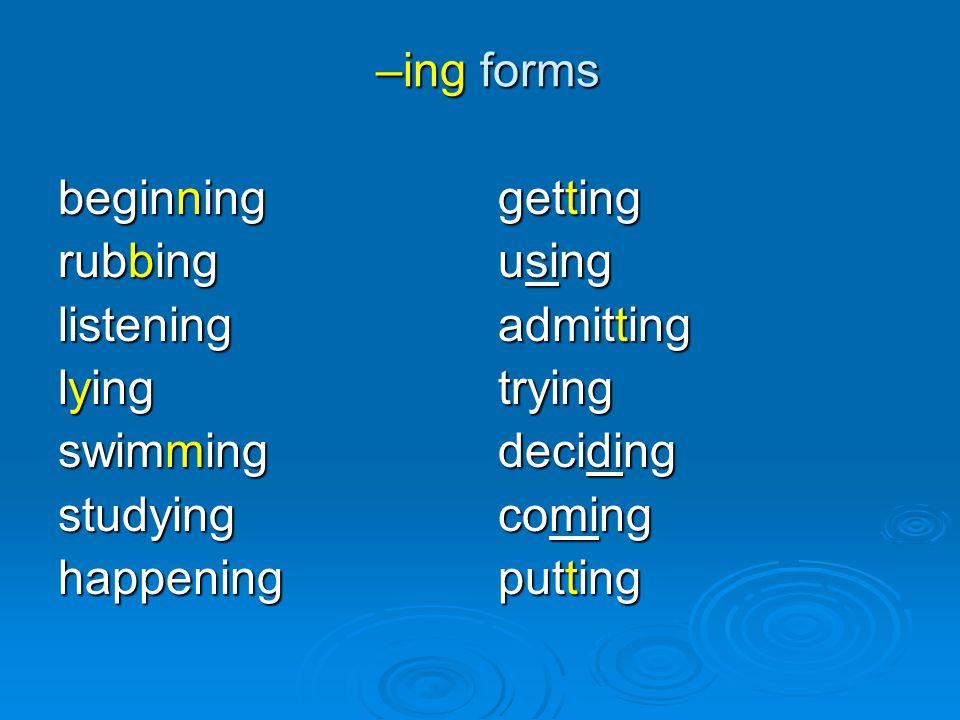 –ing forms beginning. rubbing. listening. lying. swimming. studying. happening. getting. using.